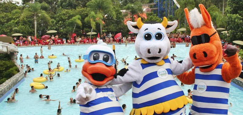 Personagens do parque aquático Acqua LOkos